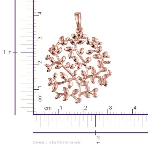 Designer Inspired Rose Gold Overlay Sterling Silver Olive Leaves Pendant, Silver wt 4.95 Gms.