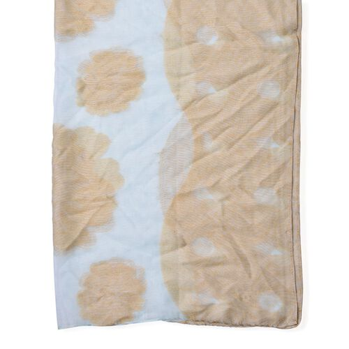 Floral Pattern Green and Brown Colour Scarf (Size 180x80 Cm)