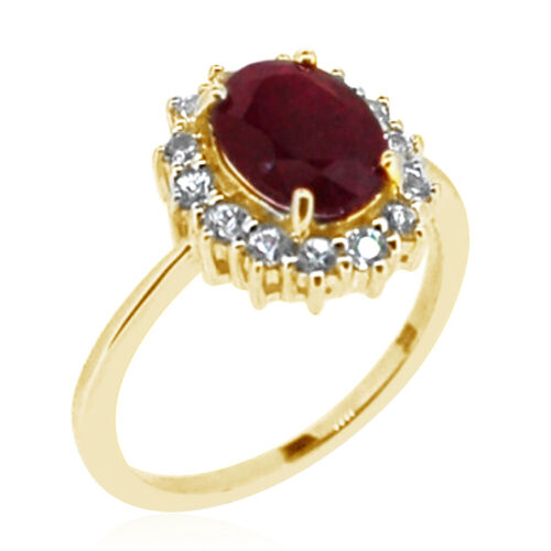 9K Y Gold Burmese Ruby (Ovl 2.30 Ct), Natural Cambodian Zircon Ring 3.000 Ct.