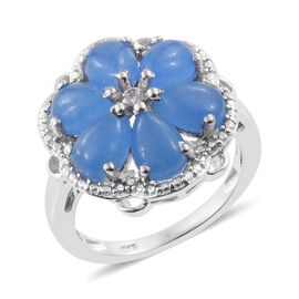 Blue Jade (Pear), Natural Cambodian Zircon Floral Ring in Platinum Overlay Sterling Silver 6.000 Ct.