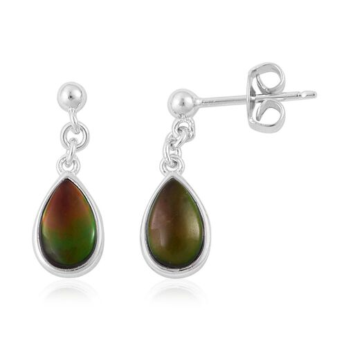Canadian Ammolite (Pear) Earrings (with Push Back) in Platinum Overlay Sterling Silver 1.750 Ct.