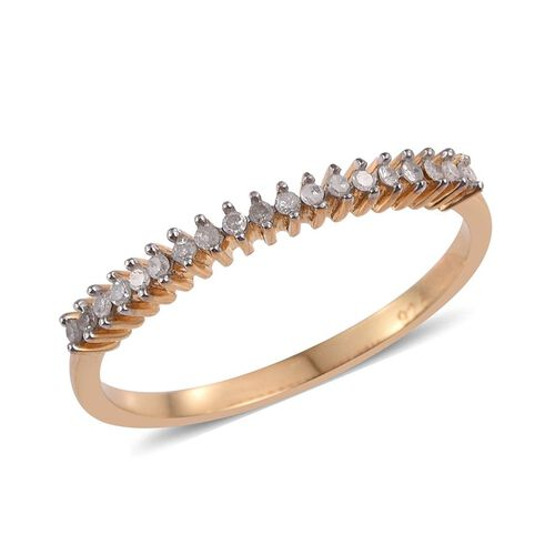 Diamond (Rnd) Stackable Half Eternity Ring in 14K Gold Overlay Sterling Silver 0.150 Ct.