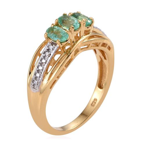 Boyaca Colombian Emerald (Ovl), Diamond Ring in 14K Gold Overlay Sterling Silver 0.750 Ct.