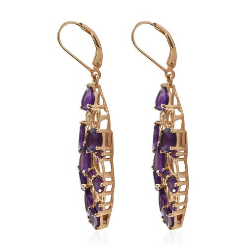 GP Amethyst (Rnd), Kanchanaburi Blue Sapphire Lever Back Earrings in 14K Gold Overlay Sterling Silver 8.750 Ct.