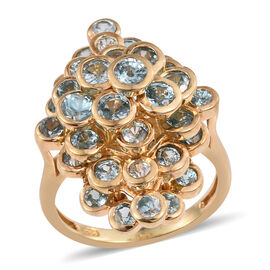 AA Natural Cambodian Blue Zircon (Rnd) Ring in 14K Gold Overlay Sterling Silver 5.250 Ct.