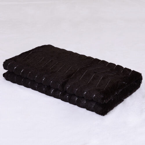 Faux Fur Dark Chocolate Colour Zig Zag Pattern Double Sided Blanket (Size 195x150 Cm)