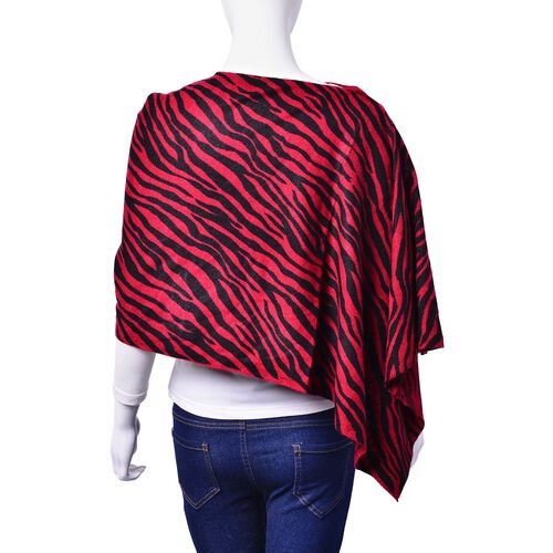 Black and Red Colour Zebra Pattern Poncho with Button (Size 140x40 Cm)