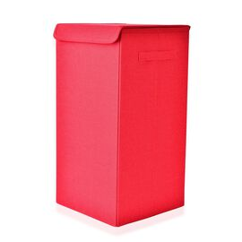 Red Colour Collapsible Storage/Laundry Basket with Lid (Size 60x30x30 Cm)