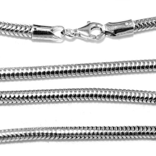 Vicenza Collection Sterling Silver Real Snake Chain (Size 20), Silver wt 19.50 gm