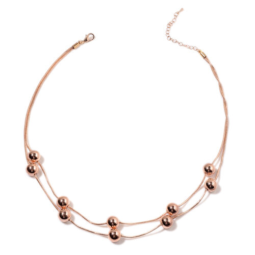 Two Strands Beads Station Necklace (Size 20) in Rose Gold Tone