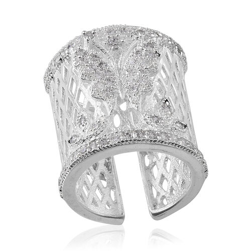 Simulated White Diamond Butterfly Adjustable Ring in Silver Bond