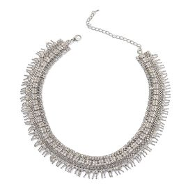 AAA White Austrian Crystal Necklace (Size 18 with 2 inch Extender) in Silver Tone