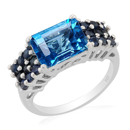 Swiss Blue Topaz (Oct 3.50 Ct) Kanchanaburi Blue Sapphire Ring in Platinum Overlay Sterling Silver  4.36 Ct.