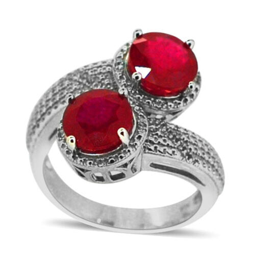 African Ruby (Rnd), White Topaz Crossover Ring in Rhodium Plated Sterling Silver 5.600 Ct.