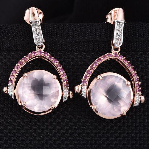 GP Rose Quartz (Rnd), Kanchanaburi Blue Sapphire, Rhodolite Garnet and White Topaz Earrings (with Push Back) in Rose Gold Overlay Sterling Silver 13.250 Ct.
