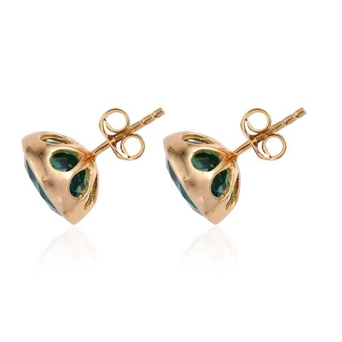 Peacock Quartz (Rnd) Stud Earrings (with Push Back) in 14K Gold Overlay Sterling Silver 8.000 Ct.