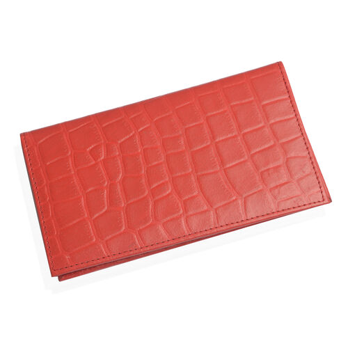 100% Genuine Leather Red Colour Croc Embossed RFID Blocker Card Holder (Size 18.5x10.5 Cm)