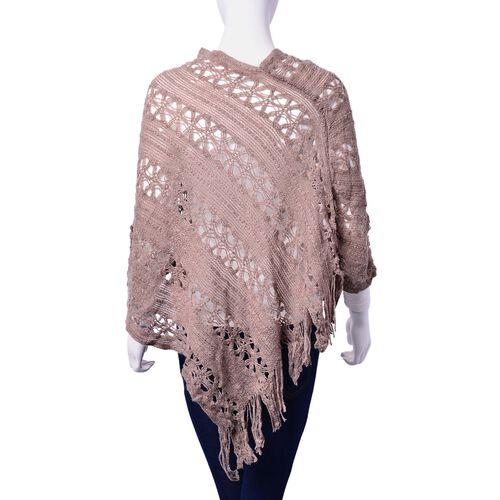 Khaki Colour Poncho with Tassel (Size 50 Cm)
