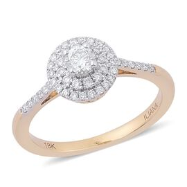 ILIANA 18K Yellow Gold 0.50 Carat Diamond Engagement Ring IGI Certified SI G-H.