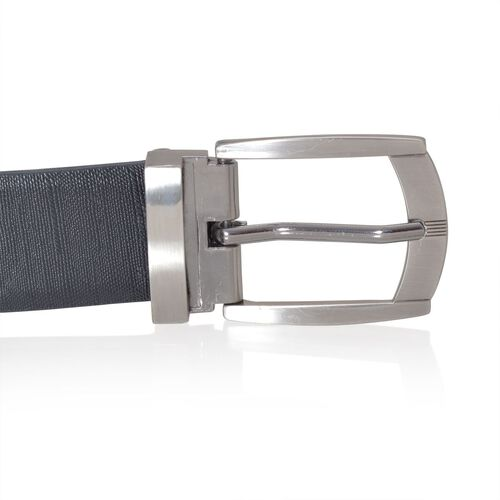 Genuine Leather Black Colour Reversible Mens Belt with Silver Tone Buckle (Size 45-46.5 inch)