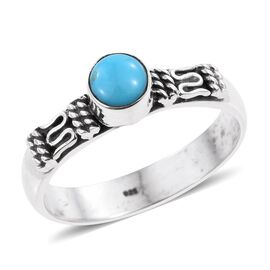Arizona Sleeping Beauty Turquoise (Rnd) Solitaire Ring in Sterling Silver