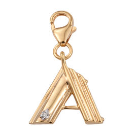 Diamond (Rnd) Initial A Charm in 14K Gold Overlay Sterling Silver