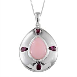 Peruvian Pink Opal (Pear), Rhodolite Garnet Pendant With Chain in Platinum Overlay Sterling Silver 4.750 Ct.