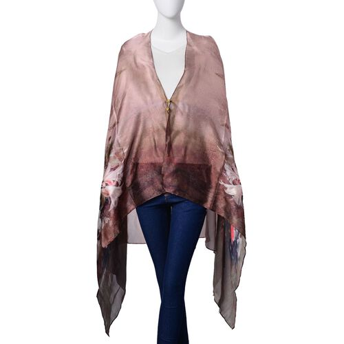 Designer Inspired - Pink and White Colour Bloom Flower Pattern Bronze and Chocolate Colour Multi Functional Poncho (Size 175x98 Cm)