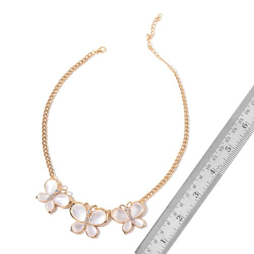 Designer Inspired - White Austrian Crystal Triple Butterfly Necklace (Size 20 with 2 inch Extender) in Yellow Gold Tone