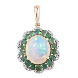 9K Y Gold AA Ethiopian Welo Opal (Ovl 2.80 Ct), Brazilian Emerald and Diamond Pendant 4.000 Ct.