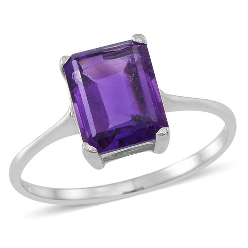 Amethyst (Oct) Solitaire Ring in Rhodium Plated Sterling Silver 2.000 Ct.