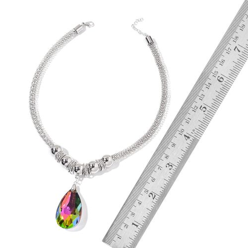 Simulated Mystic Topaz Necklace (Size 20 with 2 inch Extender) and Hook Earrings in Silver Tone with Stainless Steel