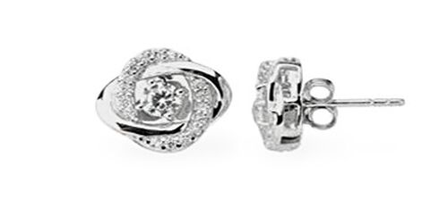 White Topaz (Rnd) Stud Earrings (with Push Back) in Rhodium Plated Sterling Silver 1.000 Ct.