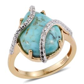 Arizona Matrix Turquoise (Pear 8.00 Ct), Diamond Ring in 14K Gold Overlay Sterling Silver 8.020 Ct.