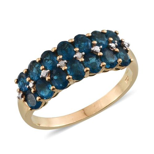 Malgache Neon Apatite (Ovl), Diamond Ring in 14K Gold Overlay Sterling Silver 2.515 Ct.