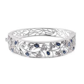 Kanchanaburi Blue Sapphire (Ovl), Simulated Diamond Bangle in Platinum Overlay Sterling Silver (Size 7.5) 5.500 Ct.