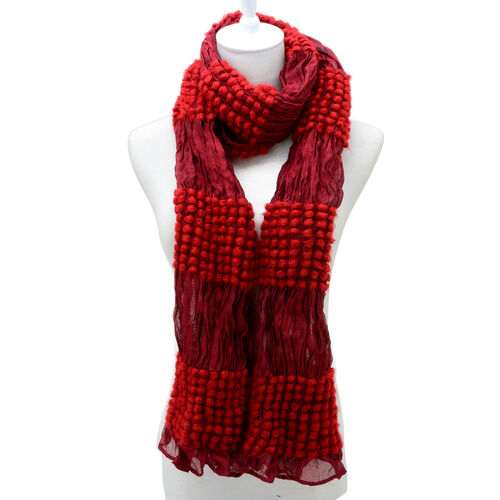 Red Colour Bubble Dot Pattern Scarf (Size 180x30 Cm)