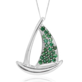 Kagem Zambian Emerald (Rnd) Yacht Pendant With Chain in Platinum Overlay Sterling Silver 2.000 Ct.