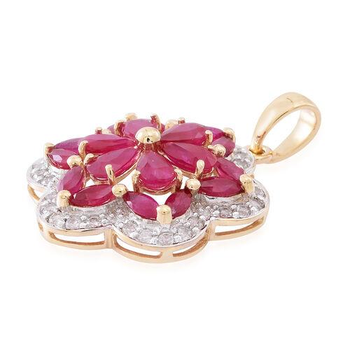 Designer Inspired - 9K Y Gold AAA Burmese Ruby (Pear), Natural Cambodian Zircon Tora Rose Pendant 5.000 Ct.