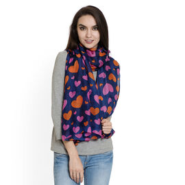 100% Silk -  Pink and Orange Colour Hearts,Navy Colour Scarf (Size 180x100 Cm)