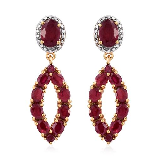 Limited Edition - African Ruby (Ovl) Earrings (with Push Back) in 14K Gold Overlay Sterling Silver 6.750 Ct.