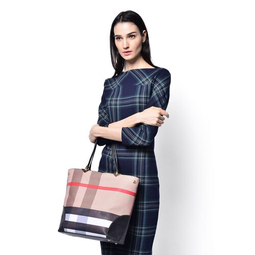 Beige, Red and Multi Colour Checks Pattern Black Colour Tote Bag with External Zipper Pocket (Size 40x30x15 Cm)
