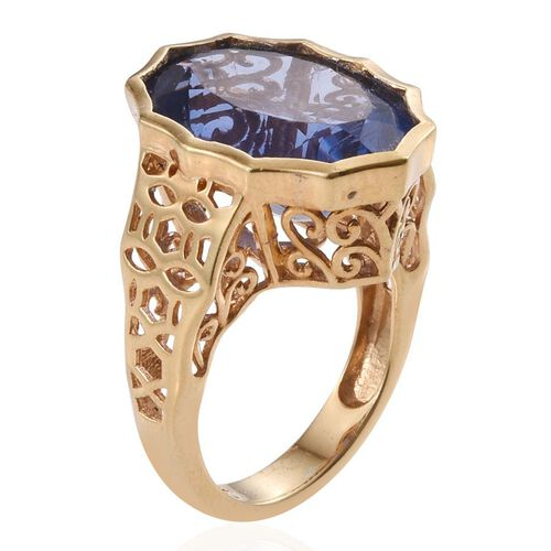 Colour Change Fluorite (Ovl) Ring in 14K Gold Overlay Sterling Silver 14.250 Ct.
