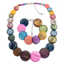 Multi Colour Shell Necklace (Size 18 with 2 inch Extender) and Bracelet (Size 8 with 1 inch Extender) in Stainless Steel 250.000 Ct.