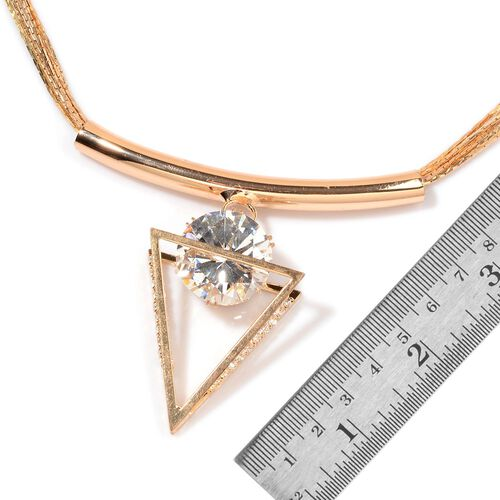 AAA Simulated White Diamond Triangle Shape Pendant With Chain (Size 18 with Extender) and Bracelet (Size 8 with Extender) in Gold Tone