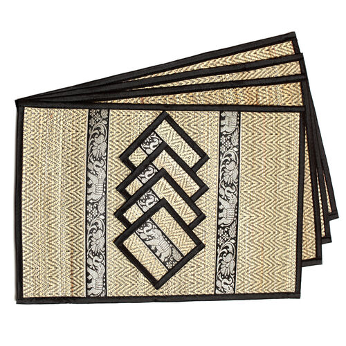 Traditional Thai Pattern Black Bamboo Wicker Placemat (12x18) and Coaster (5x5) Set