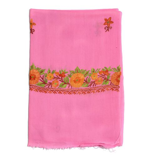 100% Merino Wool Hand Embroidered Pink Scarf (Size 200x70 Cm)