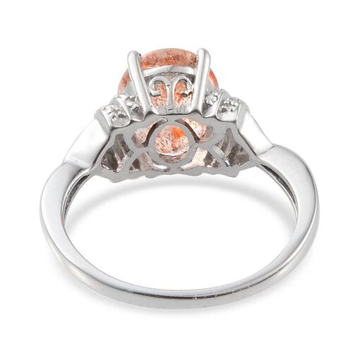 Tanzanian Sun Stone (Ovl 3.00 Ct), Diamond Ring in Platinum Overlay Sterling Silver 3.020 Ct.