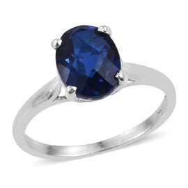 Ceylon Colour Quartz (Ovl) Solitaire Ring in Platinum Overlay Sterling Silver 2.750 Ct.