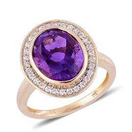 9K Y Gold AAA Lusaka Amethyst (Ovl 3.25 Ct), White Zircon Ring 3.400 Ct.